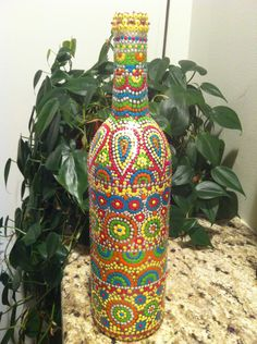 Hand painted wine bottle. $22.00, via Etsy.