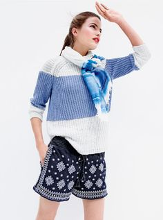 JUL '15 Style Guide: J.Crew women's sailor-striped sweater, embroidered mosaic pull-on short and linen dip-dye scarf.