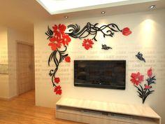 Aliexpress.com: Compre Nova chegada de cristal tridimensional adesivos de parede de moda flor da borboleta da parede tv acrílico 3d adesivos de parede de confiança adesivo de parede decoração fornecedores em Pontian girl's store.