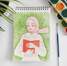 Girly Drawings, Pencil Art Drawings, Colorful Drawings, Art Sketches, Hijab Drawing, Islamic Cartoon, Anime Muslim, Hijab Cartoon, Cartoon Wallpaper