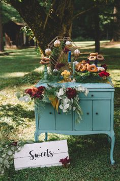 Boho Gypsy Vintage Circus Wedding at Anchor Village, Pennsylvania with circus wedding and boho wedding inspiration, teal accents, donut table by www.oakwoodphotovideo.com, a Pittsburgh Wedding Photographer