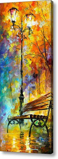 Leonid Afremov, representa una imagen donde sale un banco con una farola y transmite soledad, predominan los colores azul y amarillo.