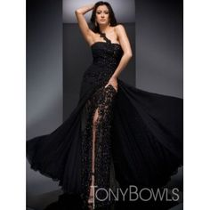 Black Chiffon Beaded Lace Pageant Dress Tony Bowls Collection 210C54 - Palace of Brides