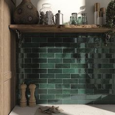 Retro tiles Artisan by Equipe Cerámicas in trendy design and in absolute top quality can be found at Keramics. Ceramic Mosaic Tile, Ceramic Subway Tile, Glass Subway Tile, Porcelain Tiles, Glazed Ceramic, Moroccan Wall Tiles, Moroccan Kitchen, Moroccan Bathroom, Green Subway Tile