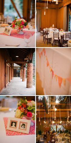I like the square cloth (napkin?) beneath the centerpiece. An easy way to add a splash of color.