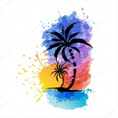 Tropical background with palms Art Deco Tattoo, Sunset Tattoos, Sea Tattoo, Tropical Background, Free Clipart Images, Silhouette Clip Art, Background Clipart, Tropical Vibes, Christmas Art