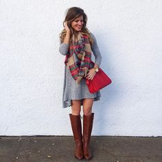 @brightonkeller // BrightonTheDay Blog // swing dress outfit // blanket scarf outfit ideas // riding boots and dress outfit