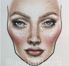 people with freckles like me!For people with freckles like me! Glam Makeup, Makeup Inspo, Makeup Inspiration, Beauty Makeup, Eye Makeup, Makeup Ideas, Mac Face Charts, Makeup Face Charts, Makeup Drawing