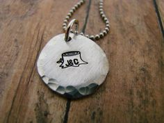 Personalized pewter pendant initials by ChristinesImpression, $16.00