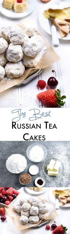 The Best Russian Tea Cakes Ever Russian Tea Cakes Our secret Russian Tea Cakes recipe is never dry. It's always declared to be the best snowball cookie they have ever eaten! Fun Easy Recipes, Easy Desserts, Delicious Desserts, Dessert Recipes, Cake Recipes, Appetizer Recipes, Party Recipes, Tea Recipes, Popular Recipes