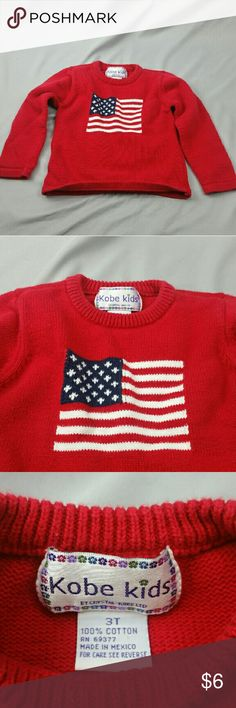 Crystal kobe Kobe kids 3t American flag sweater Crystal Kobe line called Kobe Kids. This sweater is in excellent condition. Proudly showing a American flag.  Originally  $24 Now $6. 75% off! We have thousand of items still to list, follow us for daily updates and listings! Love the item but don't love the price? Submit a offer! Crystal Kobe Shirts & Tops Sweaters