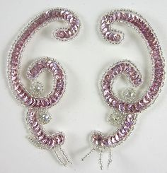 """Designer Motif with Pink Sequins Silver Beads AB Rhinestones 4"""" x 2"""""""