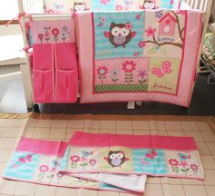 7 Pieces Baby Kit Crib Cot Bedding Sets Comforter Cotton Quilt Bumpers Sheet Dust Ruffle Pink Birdie Owls Butterflys Flowers for Girls