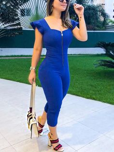 Solid Zipper Front Flutter Sleeve Petite Jumpsuit - Fashion Able Best Casual Outfits, Casual Wear, Cute Outfits, Petite Jumpsuit, Jumpsuit Dress, Bon Look, Clothing Size Chart, Curvy Girl Fashion, Womens Fashion Online