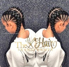 35 Cornrow Hairstyles The number styles you can create with cornrows are limitless! Read on our cornrows guide with conrow hairstyles inspiration and different looks you can create. Black Girl Braids, Girls Braids, Two Braids Hairstyle Black Women, Cute Cornrows, Long Cornrows, 2 Cornrow Braids, Curly Hair Styles, Natural Hair Styles, Goddess Braids