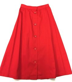 YVES St. LAURENT - YSL Vintage Red Cotton Button-Front Peasant-Style Skirt Size 4/6