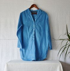 Oversized shirt boho clothing blue top indigo by EthicalLifeStore