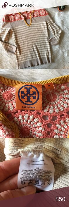 FINAL DROP Tory Burch Crochet Striped Sweater This sweater is in perfect condition! Stretchy!  Size medium!  Pit to pit is approx 17 inches  Length is approx 23 inches  Smoke and pet free home! No trades! No modeling! And no flaws like stains or holes😊 Tory Burch Sweaters V-Necks
