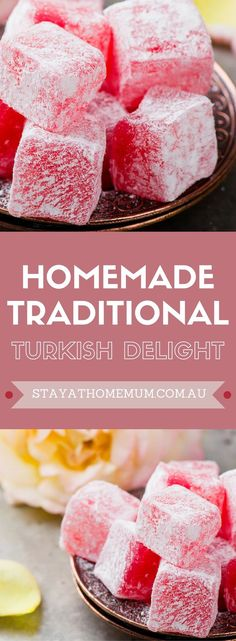 I love Homemade Turkish Delight - especially chopped finely and folded through vanilla ice cream. Here's how to make a pretty mean version at home. (how to bake cookies homemade) Just Desserts, Delicious Desserts, Yummy Food, Baking Desserts, Healthy Food, Homemade Turkish Delight, Turkish Delight Narnia, Rose Turkish Delight Recipe, Candy Recipes