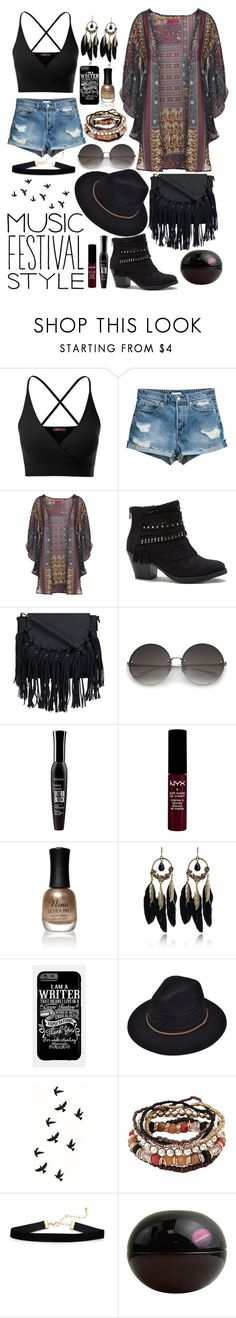 """""""Dark Festivallook"""" by lexisamskywalker ❤ liked on Polyvore featuring Doublju, Boohoo, Sugar, Bourjois, NYX, Charlotte Russe, WithChic and Donna Karan"""