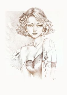 Ooak crayon ::: Phryné ::: illustration : Affiches, illustrations, posters par maiberoja