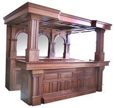 """Oak Canopy Bar With Copper Roof And Arched Beveled Mirrors - Overall Measurements: 93"""" High x 78"""" Deep (9875)"""