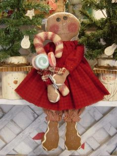 PatternMart.com ::. PatternMart: Gingerbread Girl Sugar Plum and Candy Cane Raggedy Doll Pattern 16