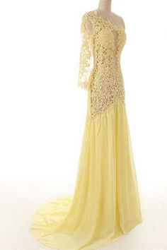 Lace Chiffon Daffodil Long Prom Dresses Evening Dresses Sexy Bridesmaid Dress ,Cheap Prom Dress