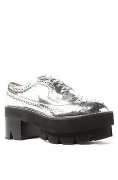 Jeffrey Campbell The Hoppus Platform Loafer in Silver