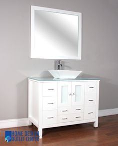 White cabinet, popup drain assembly system, hand crafted finishing, soft closing door, matching mirror, porcelain sink, glass countertop – these are the primary features of this bathroom vanity.