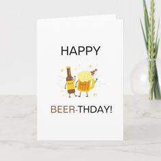 Happy Birthday Drinks, Birthday Card Puns, Best Friend Birthday Cards, Birthday Beer, Happy Birthday Funny, Birthday Cards For Men, Male Birthday, Funny Happy, Happy Birthday Illustration
