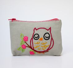 grey owl flower coin purse - hand embroidery on linen by NIARMENA on Etsy https://www.etsy.com/listing/129332736/grey-owl-flower-coin-purse-hand