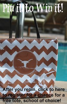 Pin it to Win it!! Pin this cute Texas Longhorns shopper tote, then register for a chance to win a free shopper tote of your own - school of your choice! Once you register, you'll be there first to know about family only specials, sales and deals of the day! Great graduation gifts - shop the entire chevron collection at www.desden.com. Thanks for playing!