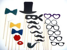 Photo Booth Props - 20 Piece Photo Booth Props Set