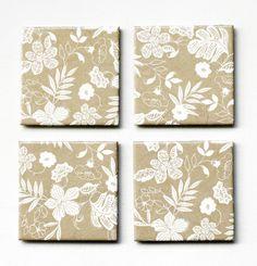 Ceramic coasters, White Flowers on Kraft  Verkäufer: MayaG