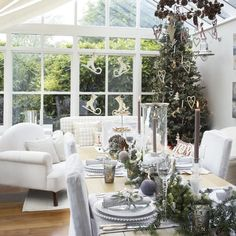 Conservatory dining area with New Year decorations | New Year's Eve dining room ideas | Christmas 2013 | PHOTO GALLERY | Housetohome.co.uk