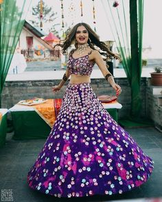 Simple Designer blue and purple color printed lehenga choli for bridal look.For order WhatsApp on draping styles dress for bride indian dresses indian teens wedding outfits sisters blouse designs indian with dress blouse designs dresses indian Wedding Dresses For Girls, Indian Wedding Outfits, Bridal Outfits, Indian Outfits, Girls Dresses, Indian Attire, Indian Clothes, Western Outfits, Bridesmaid Dresses