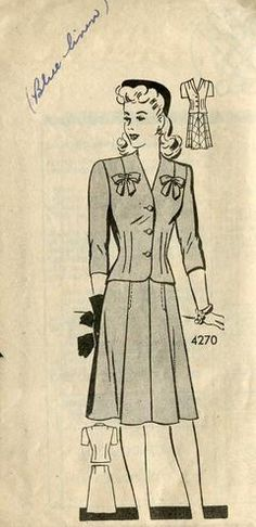 Sewing Patterns,Vintage,Out of Print,Retro,Vogue Simplicity McCall's,Over 7000 - 1940's Mail Order 420 Unused Suit Jacket Skirt 34