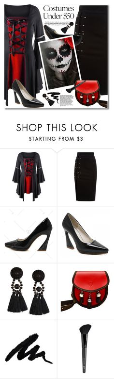 """""""Halloween Costumes Under $50"""" by svijetlana ❤ liked on Polyvore featuring Old Navy, blackpumps, halloweencostume, plussizetop and laceuptop"""