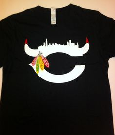 Chicago Sports Bulls Blackhawks Bears Fan Shirt Shirts Tshirt Bull Rose | eBay