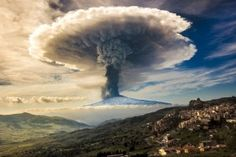 nature, Etna, Volcano, Eruption, Sicily, Italy, Snowy Peak, Mushroom, Smoke, Sky, Clouds, Town, Mountain Wallpaper