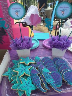 Little Mermaid cookies Little Mermaid Baby, Little Mermaid Parties, Mermaid Theme Birthday, Little Mermaid Birthday, Mermaid Party Decorations, Birthday Party Decorations, 4th Birthday Parties, 1st Birthday Girls, Birthday Ideas
