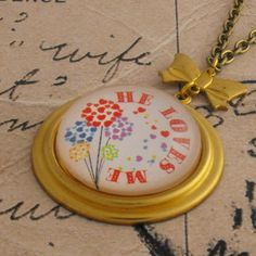 He Loves Me Charm Necklace with Bow and by vintagejewellerybox, £12.00
