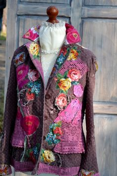 Ornate festive jacket bohemian romantic altered by MyEspresso #womenclouting #textileart #wearable #boho #jacket