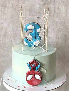 Cake Number Birthday Cakes, Cookie Cake Birthday, Baby Birthday Cakes, Baby Boy Cakes, Cakes For Boys, Spiderman Bebe, Spiderman Cake Topper, Cake Designs For Girl, Drizzle Cake