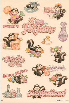 mark 1 skunk scratch and sniff stickers Funny Patches, Cute Pastel Wallpaper, Art Desk, Retro Toys, Cute Characters, Retro Art, Cartoon Wallpaper, Cute Wallpapers, Cute Art