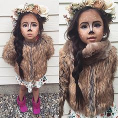Halloween Make up Ideas & Costume Ideas Toddler Halloween Costumes, Cute Costumes, Halloween Make Up, Halloween Party, Deer Costume For Kids, Baby Deer Costume, Costume Ideas, Cowgirl Costume, Teen Costumes