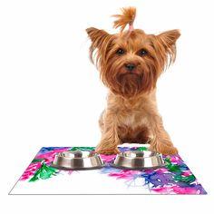 """Ebi Emporium """"Floral Cascade 1"""" Pink Green Dog Place Mat"""