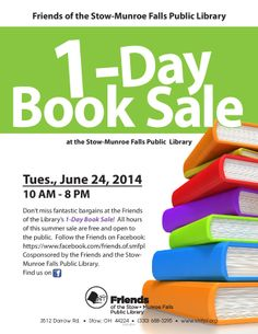 Don't miss this 1-Day Book Sale tomorrow from 10 a.m. to 8 p.m. See you there! #happyhunting #booksale #friendsofthelibrary