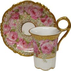 Superb Jean Pouyat Chocolate Cup & Saucer, Pink Roses, Gold from grandviewfinetableware on Ruby Lane China Cups And Saucers, China Tea Cups, Antique Tea Cups, Cuppa Tea, Chocolate Cups, My Cup Of Tea, Tea Service, China Patterns, Tea Cup Saucer